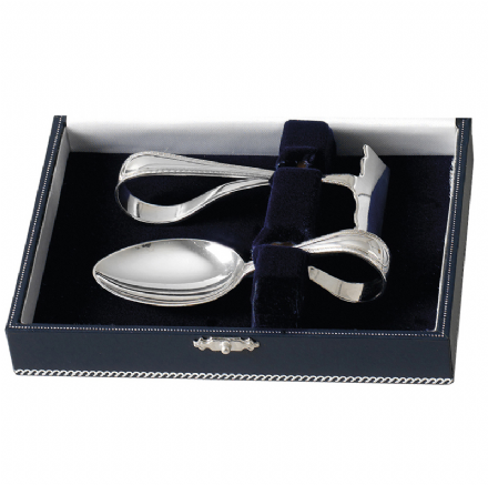 Sterling Silver 'Loop' Two Piece Child's Spoon and Pusher Set
